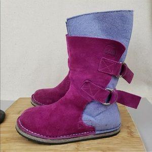 Sorel Girls Pink Purple Felt Chipahko Winter Boots